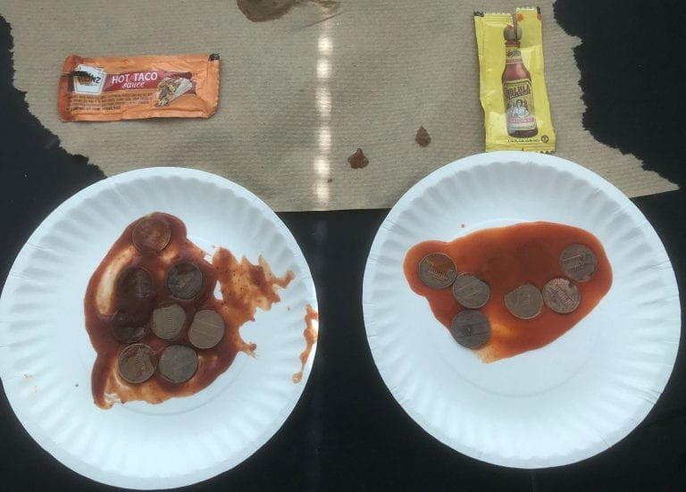 Pennies soaking in taco sauce
