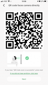QR code use for pairing a camera with the mobile app