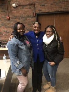 New Paltz students Amena-Devine Ruffin (left) and Jessenia Keenan (right) with Dr. Rosie Phillips Davis.