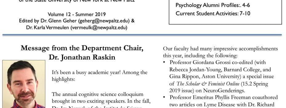 Self-Monitor Alumni Newsletter, 2019