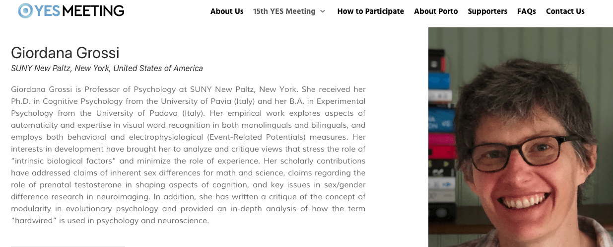 Dr. Grossi's bio and photo from the Sep. 2020 YES meeting.