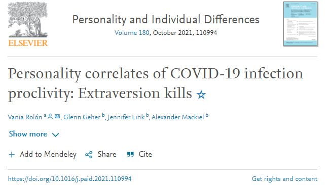 Psychology Alumna, Faculty, and Students Publish Paper on Personality Correlates of COVID