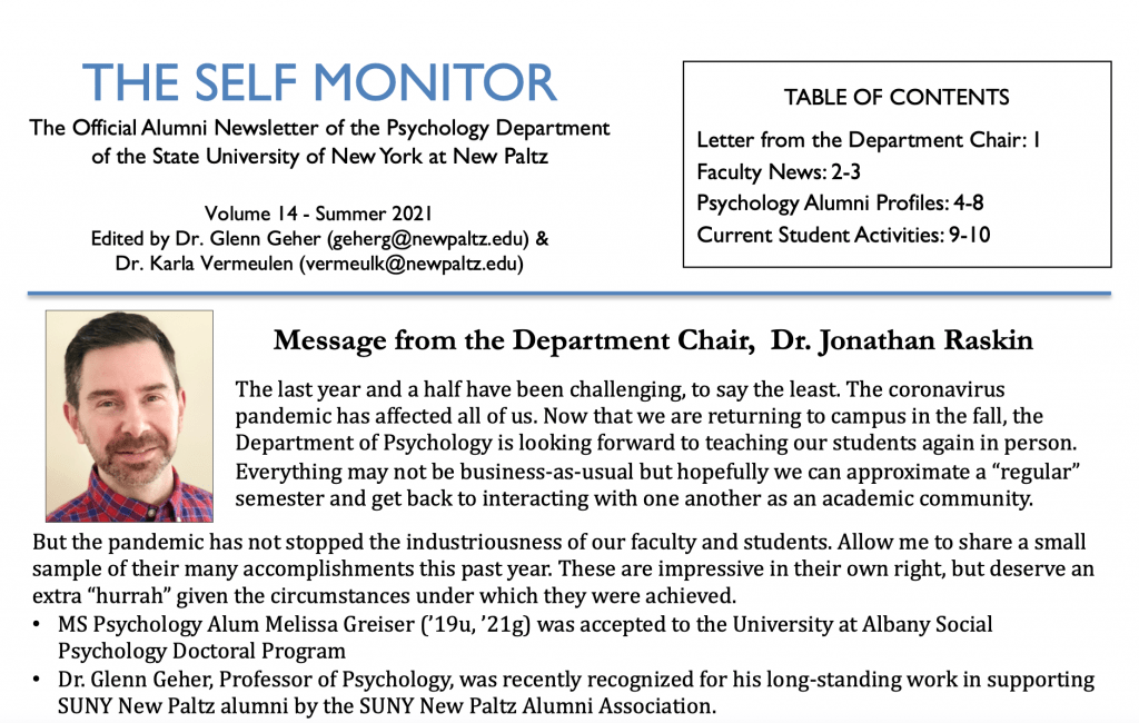 First page of 2021 Self Monitor newsletter