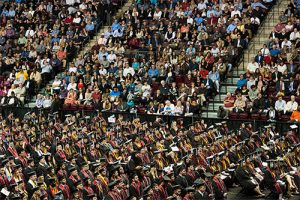 Photo of commencement, taken at Kovalchick Convention and Athletic Complex