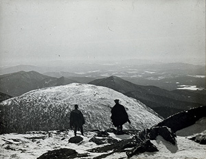 John S. Apperson Jr. and Dr. Irving Langmuir looking out over the Adirondack Mountains from the summit of Mount Marcy, NY in 1912