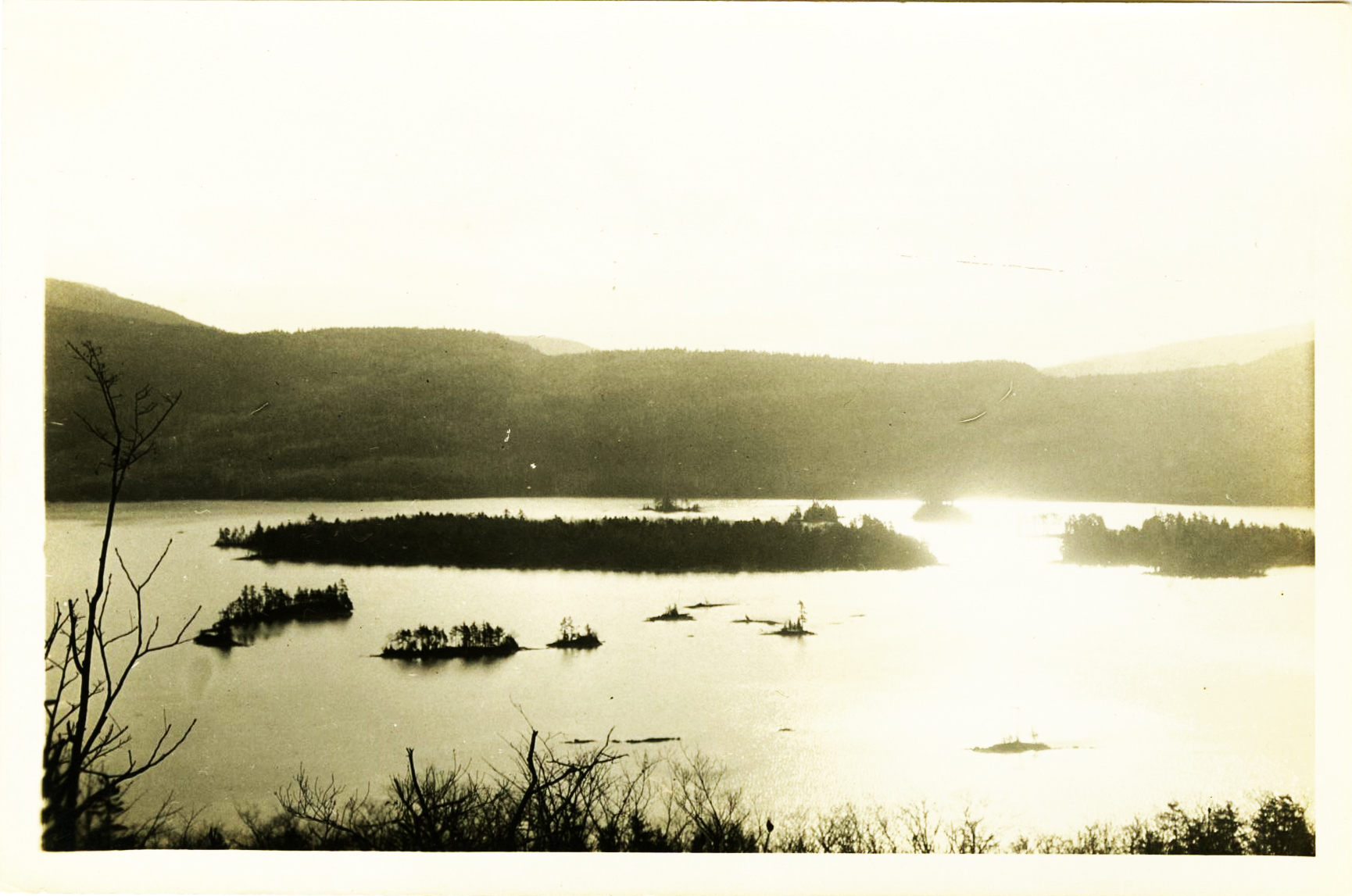 Scenic view of Lake George, circa 1915.