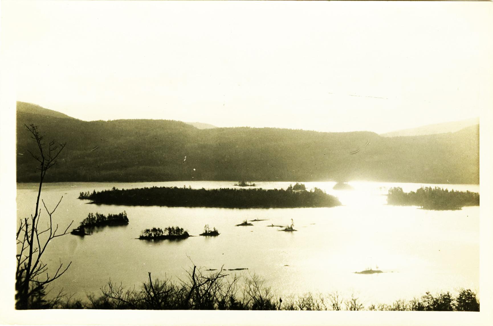 Scenic view of Lake George, circa 1915.
