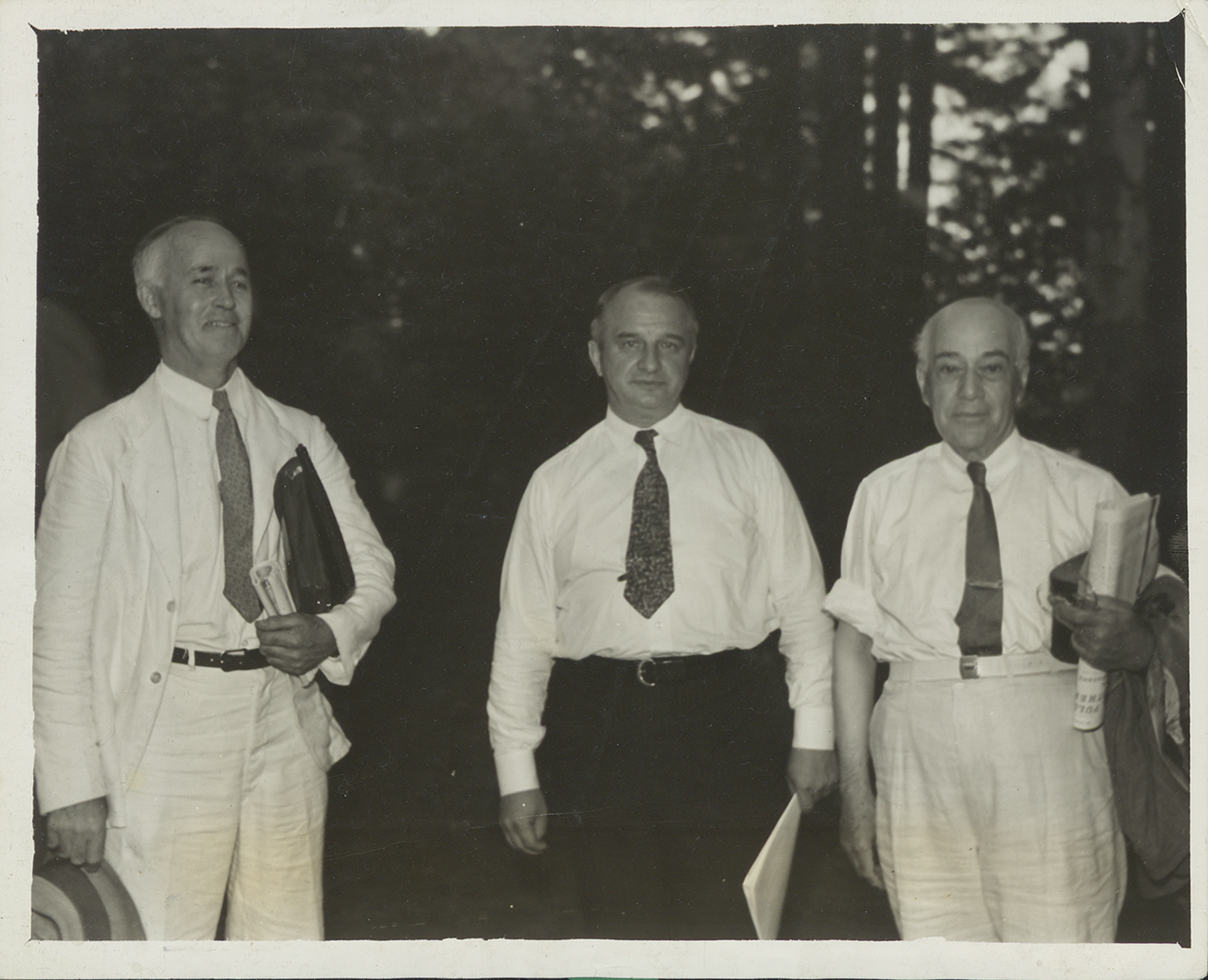 John S. Apperson Jr., Senator Ellwood M. Rabenold, and Colonel C. Seymour Bullock (left to right) at an annual meeting of the Forest Preserve Association of New York State during the 1930s. Photograph by J. S. Cawley.