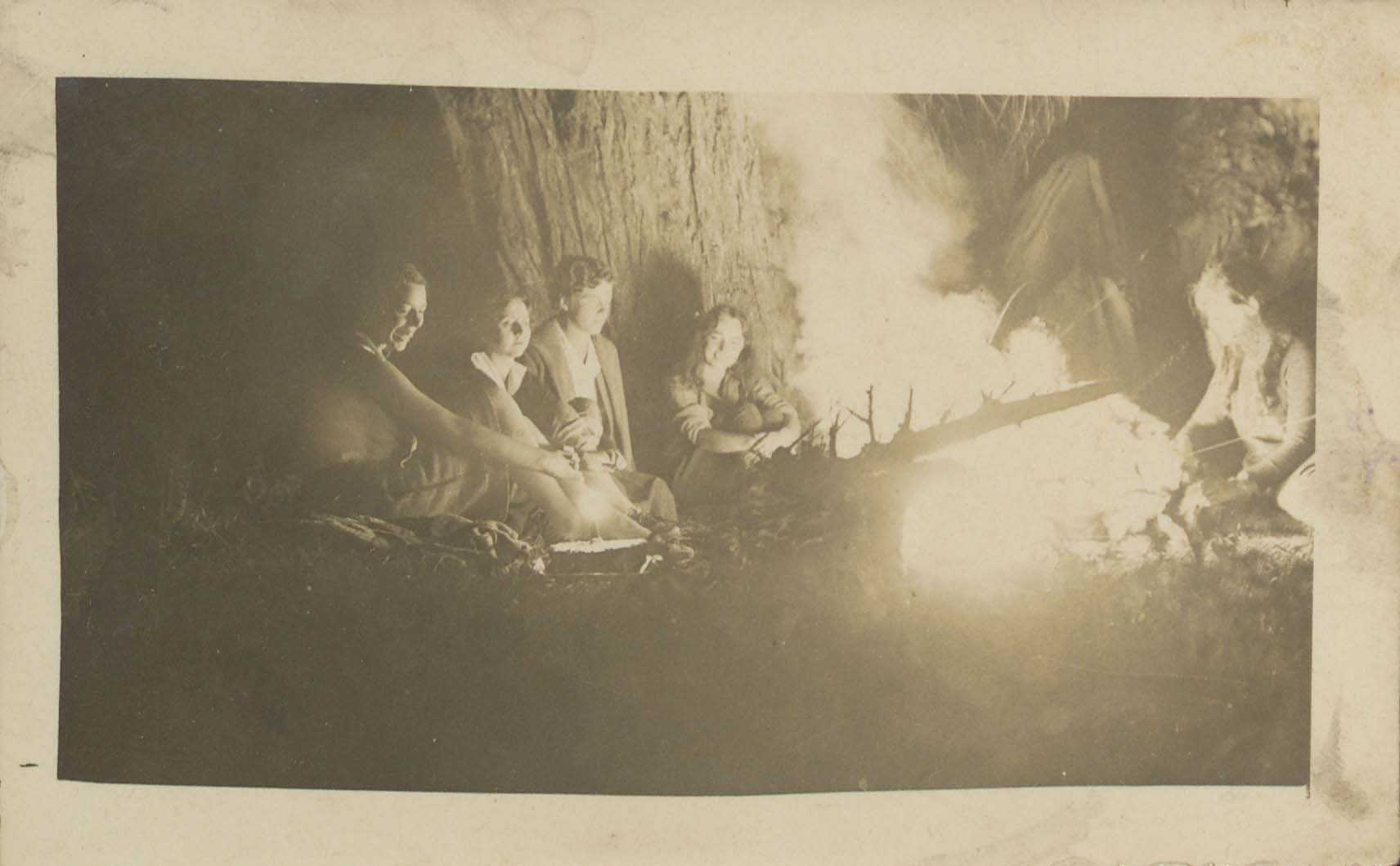Birthday party with Mohawk Valley Hiking Club members Gertrude Schaefer Fogarty, Marion Lipe, Muriel Allen, and Carolyn Keseberg Schaefer, 1931.