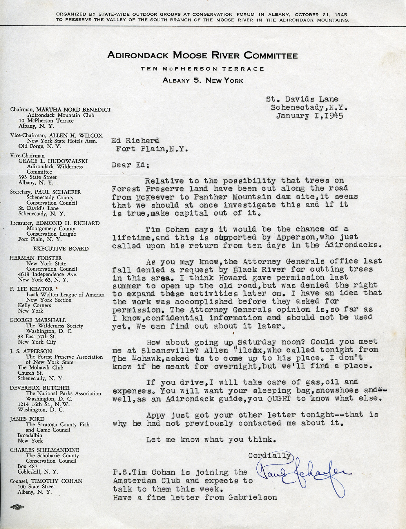 "Paul Schaefer writes to Ed Richards on January 1, 1945 about illegal lumbering occurring inside the Forest Preserve in preparation for the Panther Mountain Dam construction and references speaking to Apperson (""Appy"") about the issue."