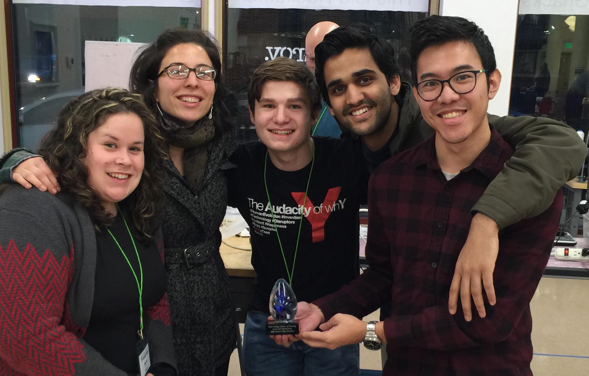 from left to right: Amanda Ervin (Union), Gabi Kosoy (Wadsworth Center), Finn Pike (Kingston HS), Arsal Habib (Union) and Htoo Wai Htet (Union)