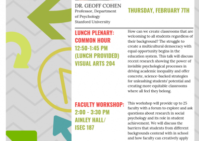 02.07.2019 Powerful but Invisible: Social psychological processes shaping student success with Dr. Geoff Cohen