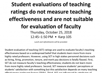 10.25.2018 Student evaluations of teaching ratings do not measure teaching effectiveness with Dr. Bob Uttl