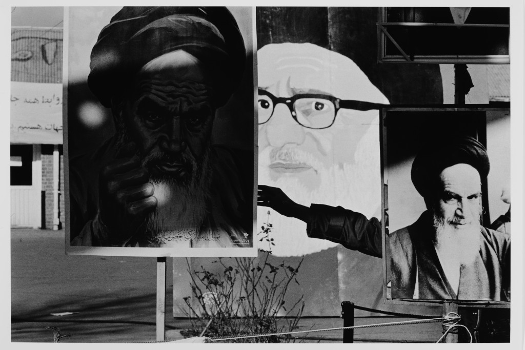 Gilles Peress, Posters in front of the US Embassy, Teheran, Iran, 1979, silver print, 1997, Union College Permanent Collection