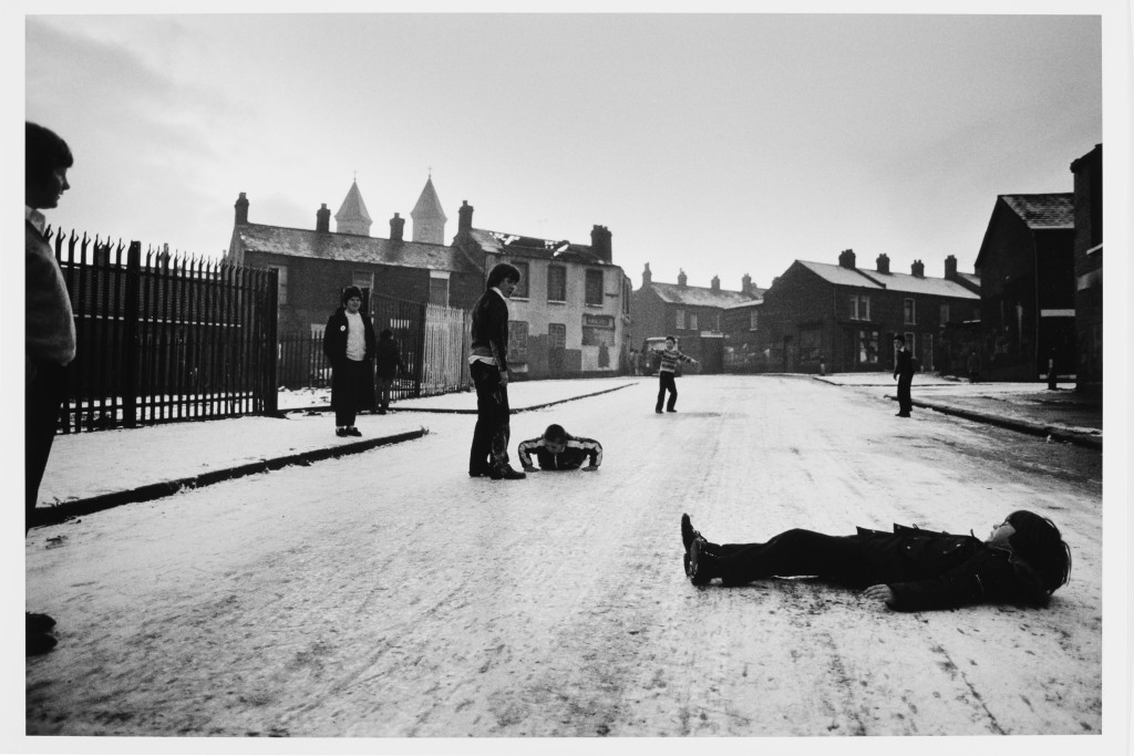 Gilles Peress, First snow in Ardoyne, a Nationalist neighborhood, 1981, silver print, 1997, Union College Permanent Collection