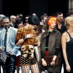 People outside after a Gucci show during Milan's fashion week, 2011, giclee print, © Stefano De Luigi / VII
