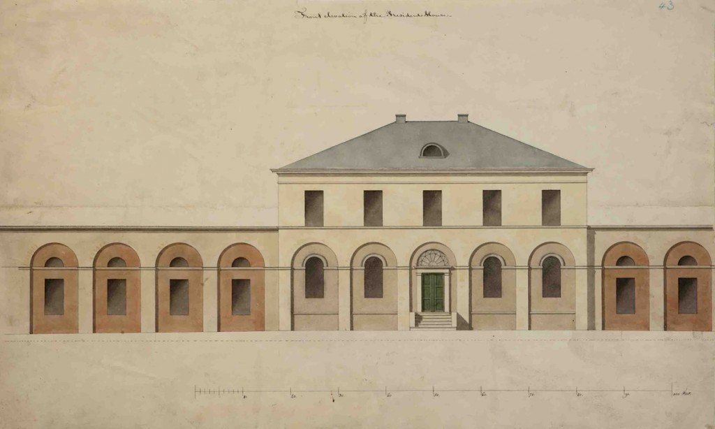 Joseph Ramée, President's House, Elevation drawing of façade, Pearson #43, black ink and transparent watercolor over faint graphite, 13 1/4 x 22 3/8 inches, Special Collections, Schaffer Library, Union College