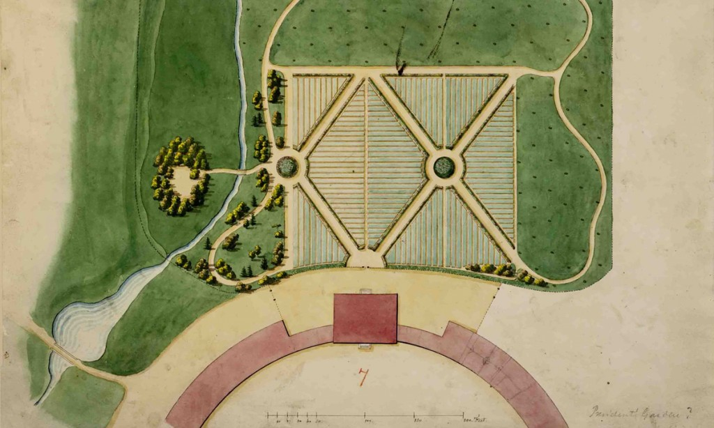 Joseph Ramée, Plan of landscaping behind house, Pearson #7, black ink and transparent watercolor over faint graphite, 12 9/16 x 18 1/4 inches, Special Collections, Schaffer Library, Union College