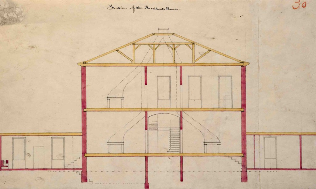 Joseph Ramée, President's House, section drawing, Pearson #30, black ink and transparent watercolor over faint graphite, 9 1/2 x 16 5/8 inches, Special Collections, Schaffer Library, Union College