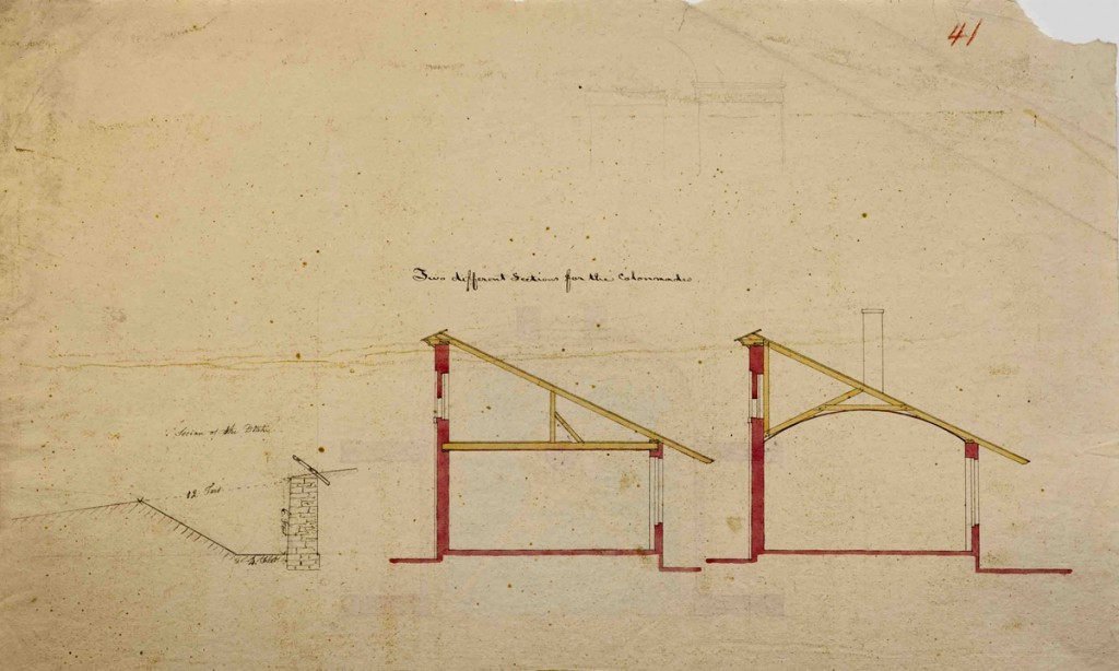 Joseph Ramée, Section drawings for the colonnades, Pearson #41, black ink and transparent watercolor over faint graphite, 11 5/8 x 18 inches, Special Collections, Schaffer Library, Union College