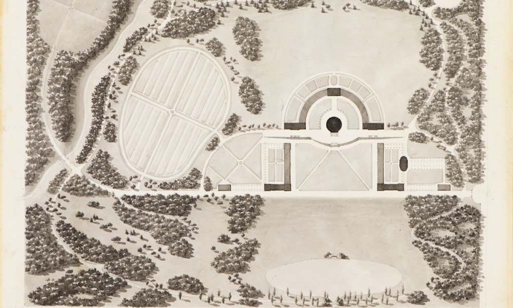 Joseph Ramée, detail of Plan of Union College, ink and wash on cream wove paper, 9 x 11 1/2 inches, Special Collections, Schaffer Library, Union College