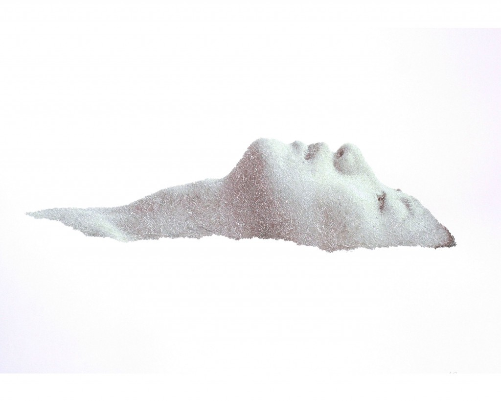 Keun Young Park, Float Face, 2012, torn and pasted photo on paper, 27 x 38 inches