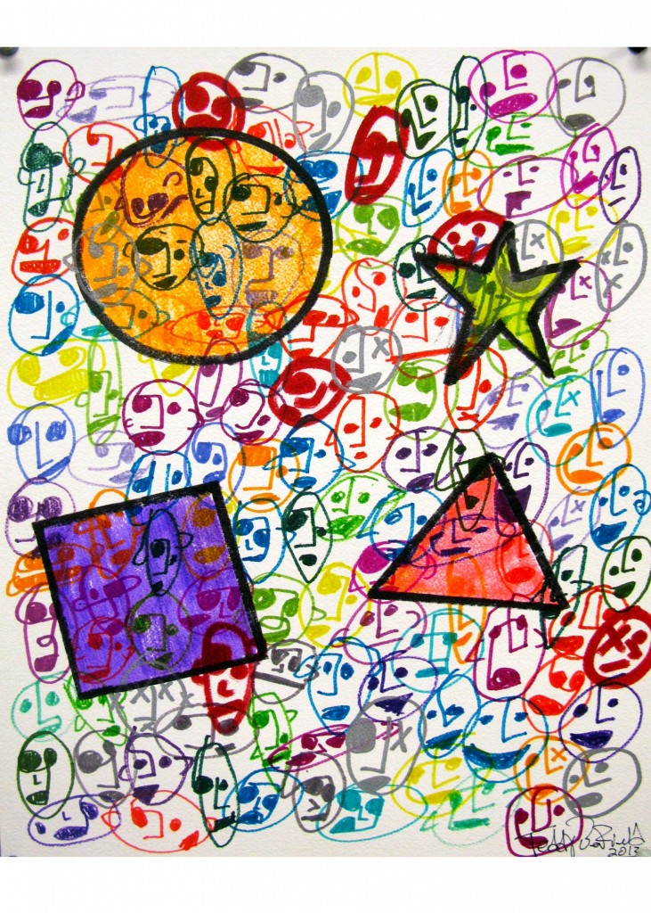 Teddy Benfield, Untitled (Color Faces), 2013, ink on paper, 16 x 12 inches