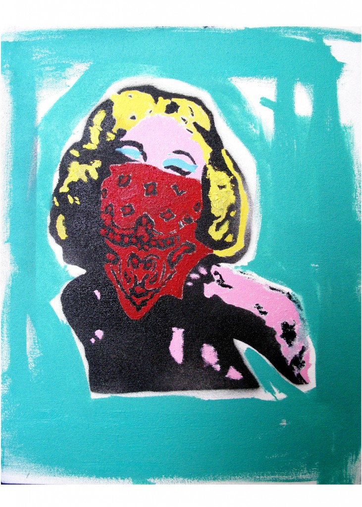 Teddy Benfield, Untitled (Marilyn), 2013, oil and spray paint on canvas, 16 x 12 inches -2