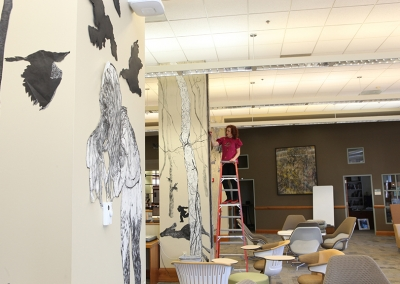 Aliene de Souza Howell working on In the Forest, Schaffer Library Learning Commons, Union College