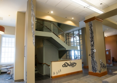 Aliene de Souza Howell, In the Forest, Schaffer Library Learning Commons, Union College, staircase near the front door