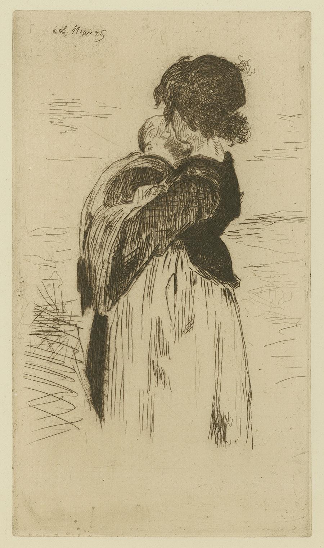La petite fille tenant un bébé by Edouard Manet
