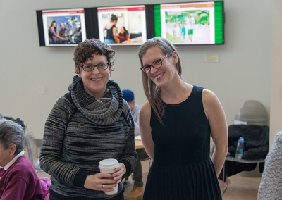 Artist Georgie Friedman (left) and Curator of Art Collections and Exhibitions, Julie Lohnes (right)