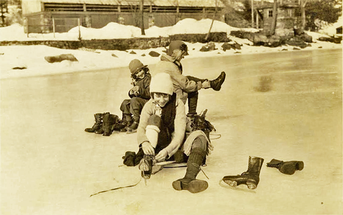 Women ice skating near Bolton Landing, New York, c. 1920