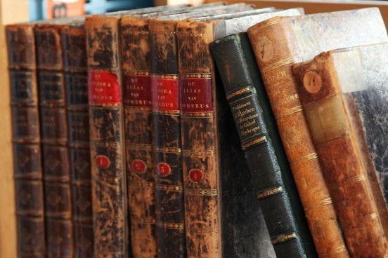 Imag: brown books on a shelf