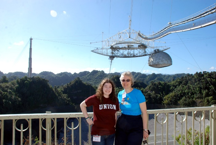 Prof. Koopmann and Halley Darling '13 at the Arecibo telescope in Puerto Rico