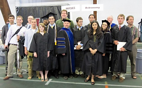 Physics students, faculty, and alumni at graduation 2011