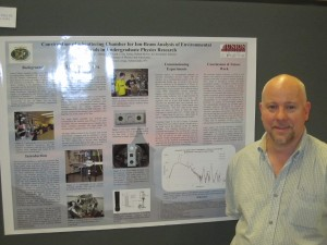 Professor LaBrake presents a poster coauthored by Professor Vineyard and three Union students at CAARI 2012, the 22nd International Conference on the Applications of Accelerators in Research and Industry in Fort Worth, Texas.