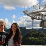 Rebecca Koopmann '89 and Rachel Almodovar '15 and the Arecibo Observatory Telescope