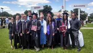 Commencement 2014 at Union. From left to right: Prof. Surman, Nate, Prof. Wilkin, Lucas, Prof. Orzel, Prof. LaBrake, Jeremy, Chris, Prof. Koopmann, Will, Vaishali, Prof. Vineyard, Alex, Prof. Marr