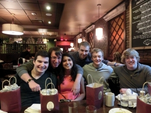 Senior Lunch with the Physics & Astronomy Department:. From left to right: Will, Jeremy, Vaishali, Sean, Nate, and Lucas