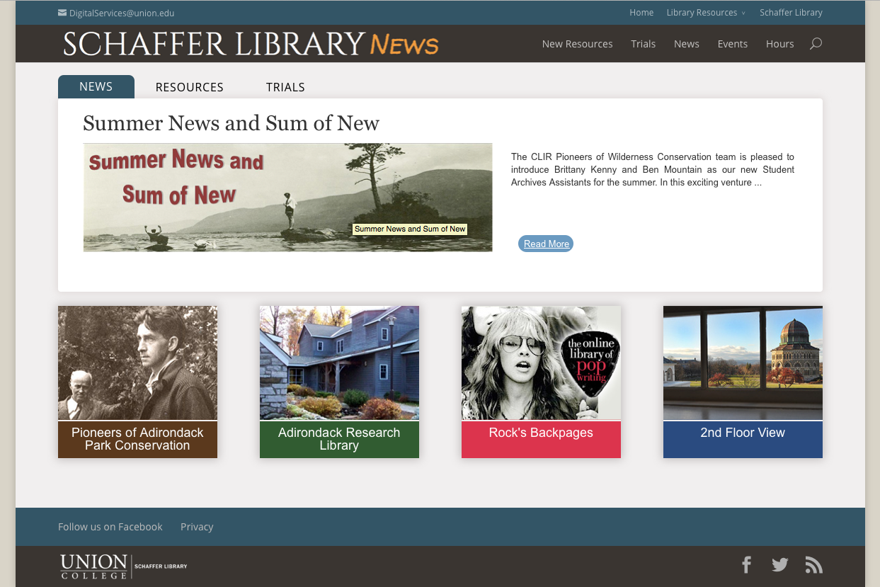 Schaffer Library's News and Events