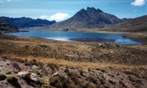 Photo of Late-glacial moraine damming Alcacocha Lake, Alcacocha Valley, east side of Lake Junin, Peru.