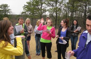 Photo of Sieving sand from the dunes in the Albany Pine Bush Preserve, SCI 200, Spring 2012