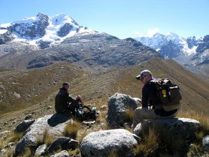 Photo of late-glacial (~16 ka) right-lateral moraine in Jeullesh Valley, Nevado Jeulla Rajo, Peru, 2011.