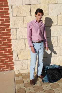 Junior Britton Youngblood wears a classic button down Polo shirt