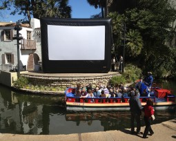 Slab Cinema shows movies in multiple exciting locations, such as on the La Villita Riverwalk.