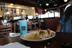 With it's alluring appearance, Corner Bakery sets the mood for studying.