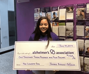 She raised $1,704 and is the youngest 'Longest Day' event coordinator in the South Texas Chapter. Alfonso-DeSouza is now planning her second event to raise money and bring awareness to this disease in 2019.