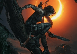 Character Laura croft is pictured crouching on a branch, seemingly ready to strike.