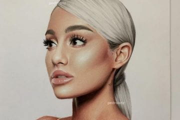 Pedro Diaz drawing of Ariana Grande posted on his Instagram account